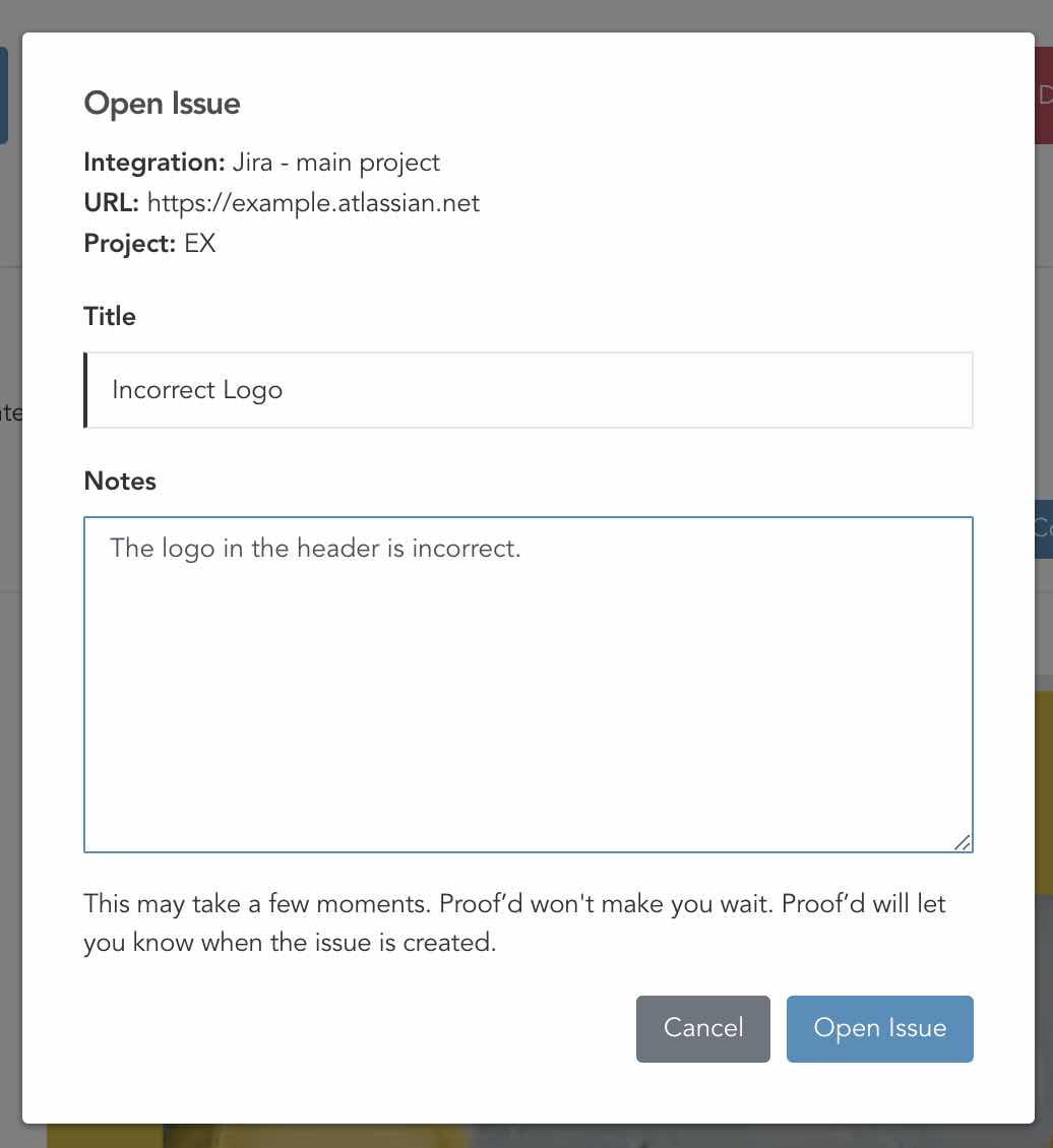 Opening a Jira Issue